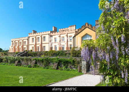 pentillie castle a grade II listed country house near st.mellion in cornwall, england, uk - Stock Photo