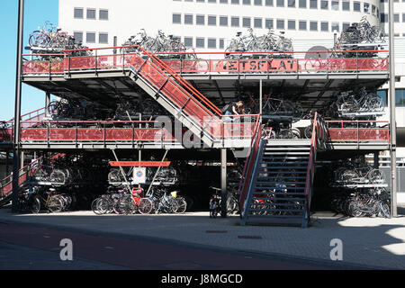 multistory bicycle parking in Groningen Netherlands - Stock Photo