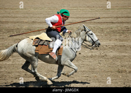 Wild bull herdsman (campino). Samora Correia. Ribatejo, Portugal - Stock Photo