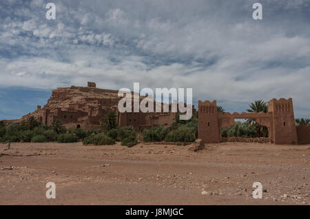 Kasbah Ait Ben Haddou in the Atlas Mountains of Morocco. Medieval fortification city, UNESCO World Heritage Site. - Stock Photo