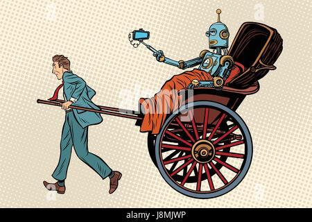 People rickshaw ride robot - Stock Photo