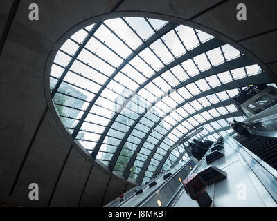 Canary Wharf station in the London Underground transit station. The station serves The Docklands financial district. - Stock Photo