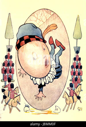 Humpty Dumpty Sat on a Wall, Humpty Dumpty had a great Fall - Nursery Rhyme - Stock Photo