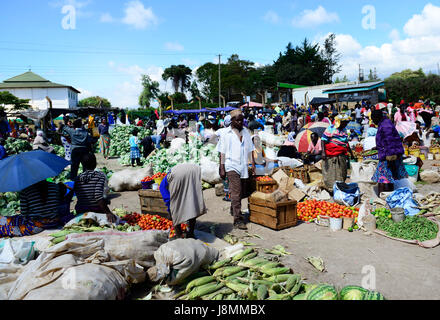 The colorful fruit & vegetable  market in the border town of Loitokitok in Kenya. - Stock Photo