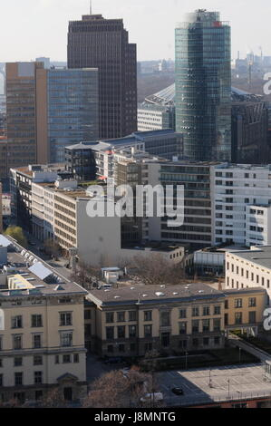 Die Welt observation balloon offers aerial view over Berlin (Germany) - Stock Photo