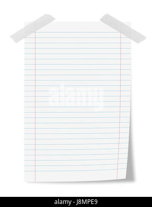 Paper sheet with adhesive tape isolated on  white - Stock Photo
