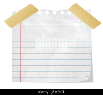 Piece of paper with adhesive tape - Stock Photo