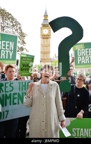 Green co-leader Caroline Lucas (front) with supporters during a Green Party poster launch in Westminster, London. - Stock Photo