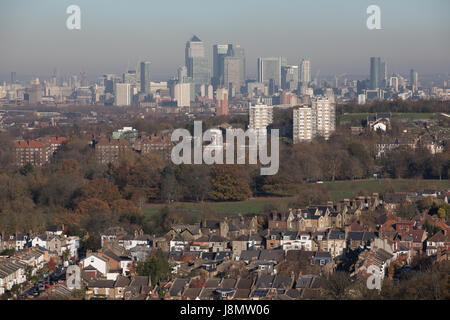 General view of London from south looking north, panoramic, showing housing in foreground and City of London in - Stock Photo