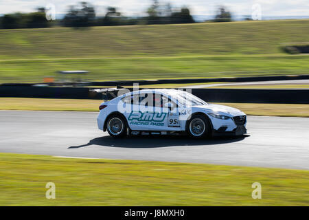 Sydney Motorsport Park, Australia. 28th May 2017.  Ryan McLeod pushing hard in the Marc Car. Anthony Bolack/Alamy - Stock Photo
