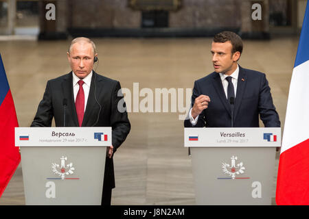 Versailles, France. 29th May, 2017. Emmanuel Macron, the new French president, in a press conference with Vladimir - Stock Photo