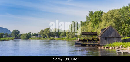 Panorama of the Weser river near Minden, Germany - Stock Photo