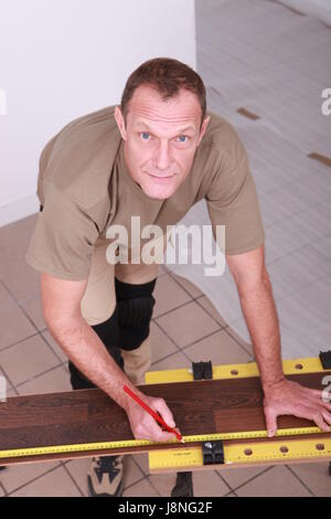 new, portrait, hobby, adjust, tiles, saw, cut, timber, topview, parquet, - Stock Photo