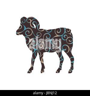 Ram farm mammal color silhouette animal - Stock Photo
