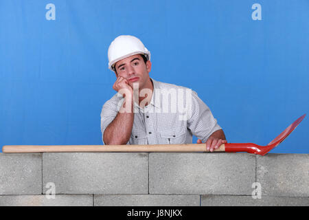 blue, build, chin, collar, bored, supplier, contractor, builder, construction, - Stock Photo