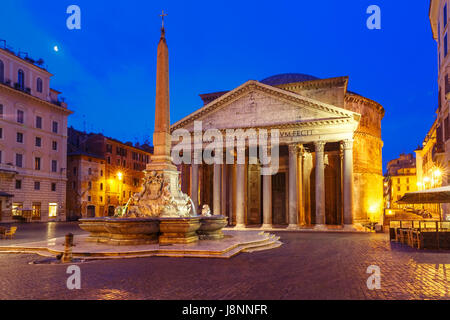 The Pantheon at night, Rome, Italy - Stock Photo
