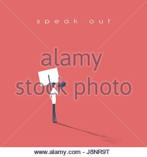 Protester speaking through megaphone or bullhorn and holding a placard, banner vector icon. Symbol of activism, - Stock Photo