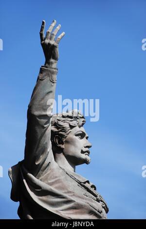 monument, budapest, poet, revolution, revolutionary, blue, hand, finger, - Stock Photo