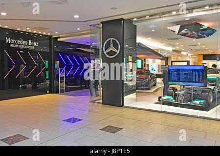 Mercedes Benz Pop up car dealer indoor shopping mall dealership showroom in Intu Lakeside shopping centre mall Thurrock - Stock Photo