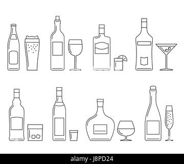 Beverages and drinks thin icons - Stock Photo