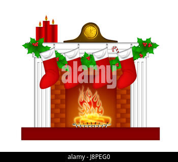 leaves, clock, fireplace, stove, christmas, stockings, holly, garland, foliage, - Stock Photo