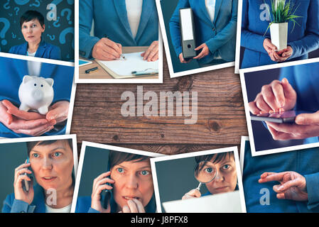 woman in business and entrepreneurship photo collage over wooden office desk background stock photo