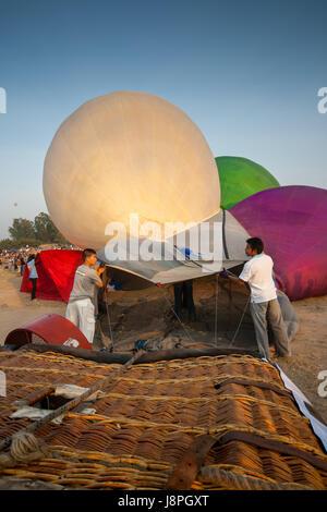 Crews prepare hot air balloon cold inflation before fly in hot air Thailand International Balloon Festival 2009