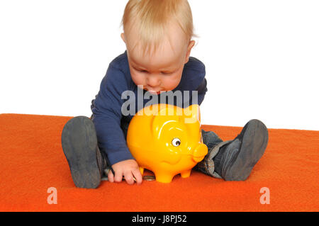 save, baby, piggybank, young, younger, child, provision, isolated, scrabble, - Stock Photo