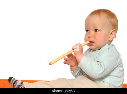 baby, light hearted, young, younger, child, eating, eat, eats, isolated, - Stock Photo