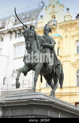 Statue of count Josip Jelacic on main square in Zagreb, Croatia - Stock Photo