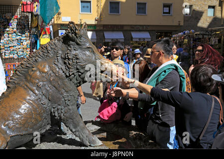 Japaneese tourists rubbing the snout of Il Porcellino a bronze fountain of a boar to ensure their return, Mercato - Stock Photo
