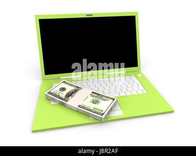 note, memo, laptop, notebook, computers, computer, dollar, dollars, keyboard, - Stock Photo