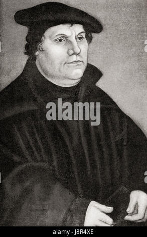 Martin Luther, 1483 – 1546. German professor of theology, composer, priest, monk and a seminal figure in the Protestant - Stock Photo