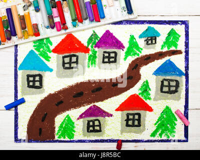 Colorful drawing: village drawing, - Stock Photo