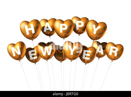 balloon, new year, balloons, ballon, heart shaped, heart, gold, game, - Stock Photo