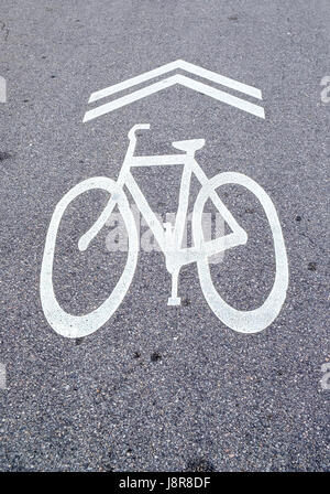 Cycle sign on road - Stock Photo