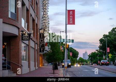 Aloft Hotel on Hillsborough Street at dusk on campus of North Carolina State University, Raleigh, USA - Stock Photo