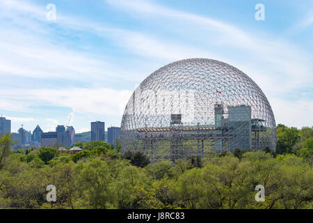 Montreal, CA - 28 May 2017: Montreal Skyline and Biosphere in spring - Stock Photo