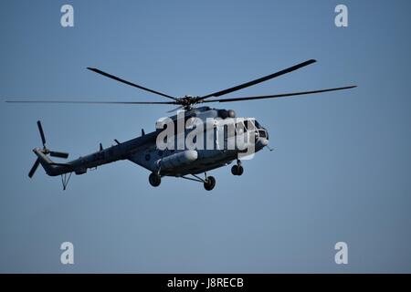 Day of Croatian military forces celebrated with demonstration of technic and soldiers skills. Helicopter, boats, - Stock Photo