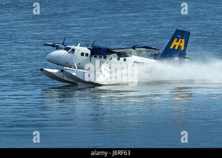 Harbour Air Seaplanes de Havilland Canada DHC-6 Twin Otter Floatplane Landing At Vancouver Harbour Flight Centre, - Stock Photo
