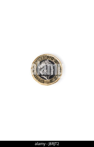 The new 12-sided 2017 £1 pound coin - Stock Photo