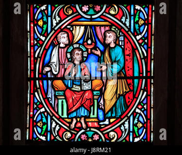 Scene from Life of Jesus, by Adolph Didron, Paris, 1860, stained glass window, Feltwell, Norfolk, England, Jesus - Stock Photo