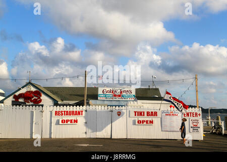 Outside Crabby Jerry's Restaurant, Greenport, Long Island, New York, United States, North America - Stock Photo