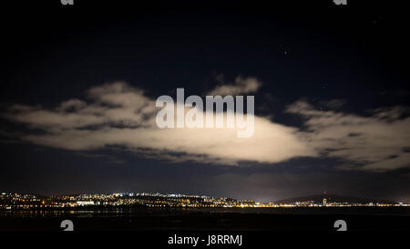 landscape of of city life with large cloud - Stock Photo