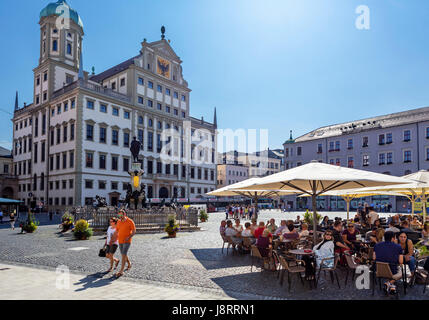 Sidewalk cafe in front of the Town Hall (Rathaus), Rathausplatz, Augsburg, Bavaria, Germany - Stock Photo