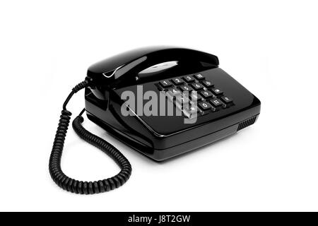 classic black telephone from the eighties - Stock Photo