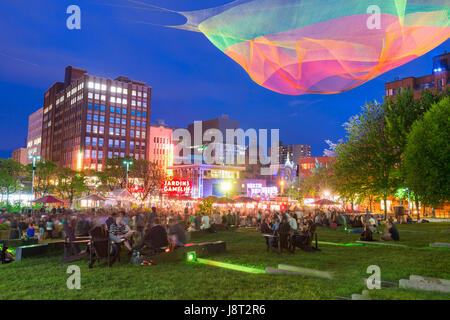 Montreal, CA - 27 May 2017: Jardins Gamelin at Emilie Gamelin Square - Stock Photo