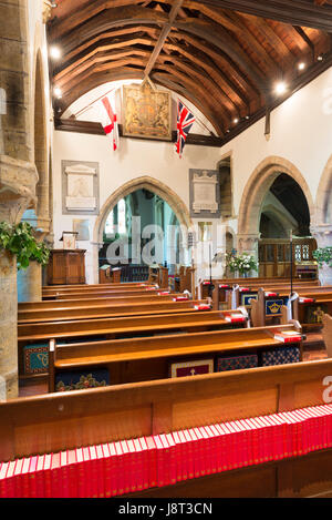 The interior of the church of All Hallows in the village of Tillington west of Petworth, West Sussex, England, UK - Stock Photo