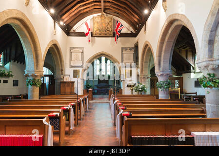 The interior of All Hallows church in the village of Tillington near Petworth in West Sussex, UK - Stock Photo