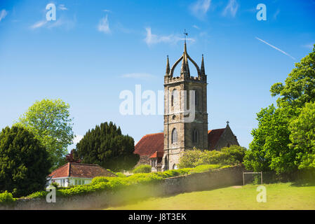 All Hallows church in the village of Tillington close to Petworth with its Scots Crown Spire, West Sussex, UK - Stock Photo